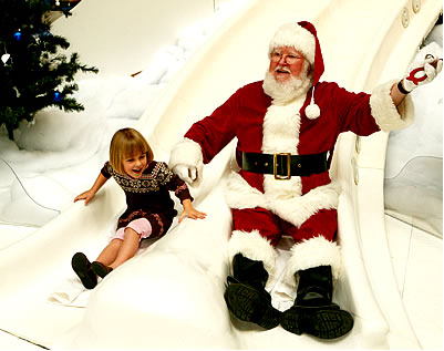 Santa on the Yule Slide at the Children's Museum of Indianapolis.