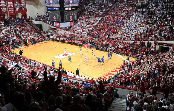 IU Basketball at Assembly Hall on the Indiana University campus.