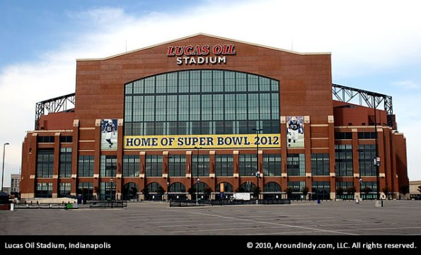 Lucas Oil Stadium, home of Super Bowl XLVI