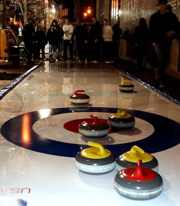 Curling at the Super Bowl Village