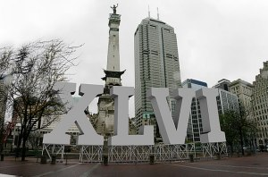 The iconic Super Bowl Roman Numerals on Monument Circle