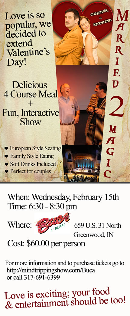 """Married 2 Magic"" at Buca di Beppo, Feb. 15"