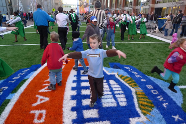 Zombie Tag in the Super Bowl Village.