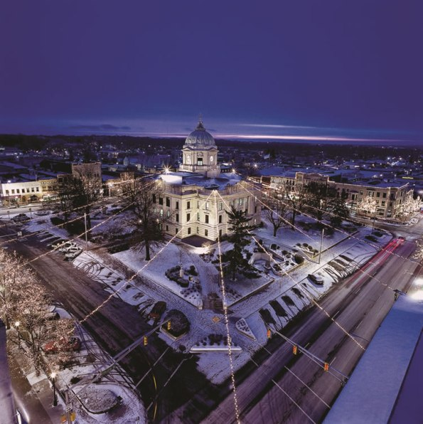 Downtown Bloomington decorated for the holidays