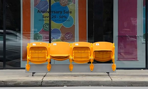 Repurposed seats at Broad Ripple bus stop.