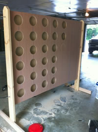 A giant Connect Four board