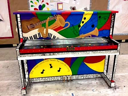 One of the painted pianos in the Women's Fund exhibit.