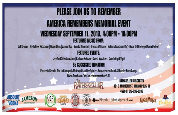 America Remembers at the Rathskeller, 4-10 pm.
