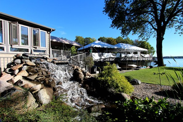 The Lighthouse Lodge waterfall.