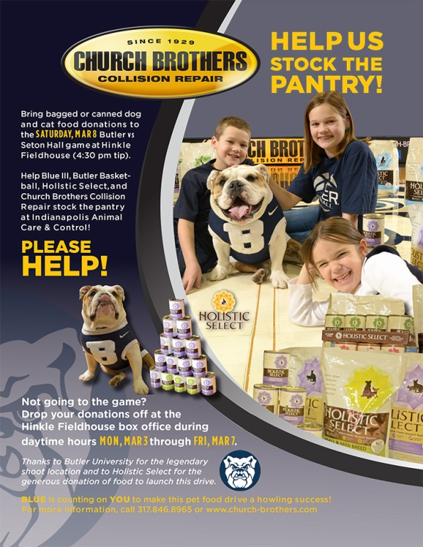 Pet Food Drive at Butler University, Mar. 8