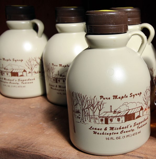 Pure Maple Syrup jugs at LM Sugarbush