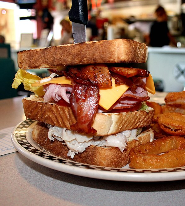 Mile High Club sandwich at Rock Cola Cafe.